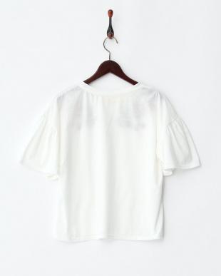 オフシロ  花刺繍フレア袖Tシャツ見る
