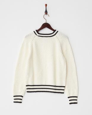 オフホワイト  アイレットラインセーター見る