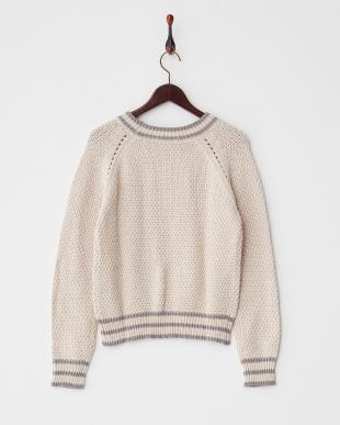 ピンクベージュ  アイレットラインセーター見る