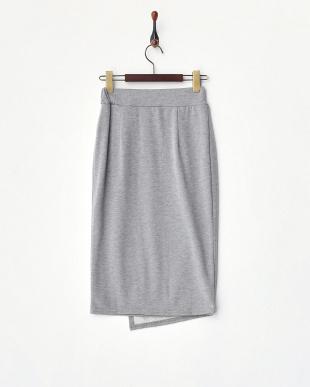 ヘザーグレー ラップ風ジャージースカート見る