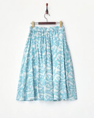 ブルー  ビッグポケットミディフレアスカート見る