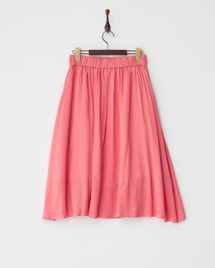ピンク  ビッグポケットミディフレアスカート見る