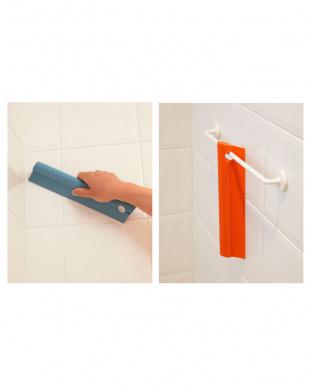 グレー+ダークブルー バスルームお掃除用品2点セット見る