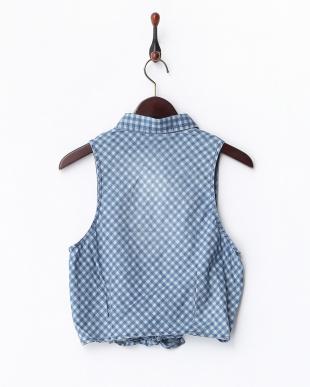 ブルー 裾結び チェックノースリーブシャツ見る
