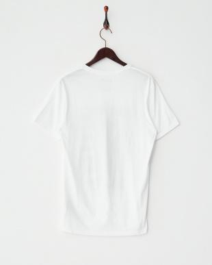 ホワイト  VネックロゴプリントTシャツ見る