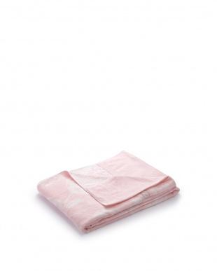 ピンク  先染めジャガード織タオルケット シングル見る