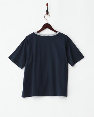 ネイビー  婦人用5分袖Tシャツ見る
