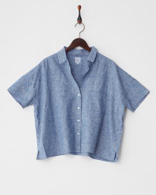 ネイビー  リネン混ビッグシャツ見る