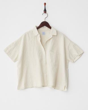ベージュ  リネン混ビッグシャツ見る