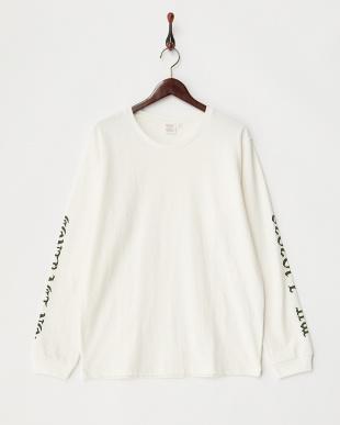 ホワイト  袖プリント ロングTシャツ見る