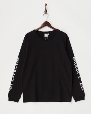 ブラック  袖プリント ロングTシャツ見る