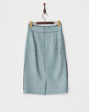 ブルー ウール混タイトスカート見る