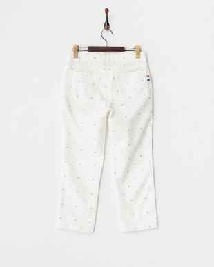 ホワイト  レディス クローバーモチーフドット柄ストレッチパンツ UVカット・吸汗速乾・接触冷感見る
