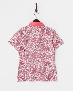 ピンク  吸汗速乾/UVカット リーフ柄半袖シャツ見る