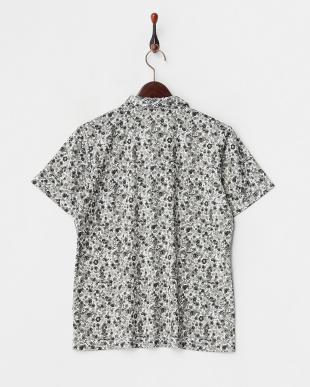 ブラック  吸汗速乾/UVカット ブロッサムプリント半袖シャツ見る