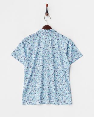 サックス  吸汗速乾/UVカット ブロッサムプリント半袖シャツ見る