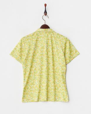 イエロー  吸汗速乾/UVカット ブロッサムプリント半袖シャツ見る