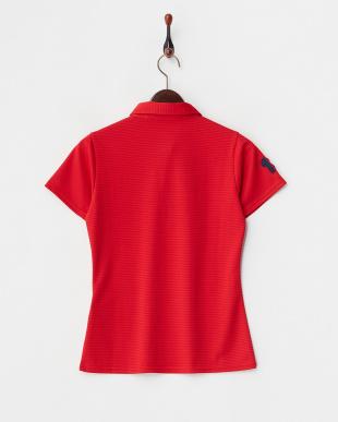 レッド  UVカット/吸汗速乾/接触冷感 ロゴワッペン半袖シャツ見る