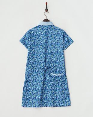 ブルー  吸汗速乾/UVカット 小花柄半袖ワンピース見る