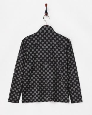 ブラック 吸汗速乾/UVカット ドットプリントジップシャツ見る
