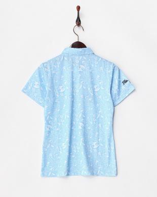 ブルー  吸汗速乾/UVカット ワッペン付きプリントシャツ見る