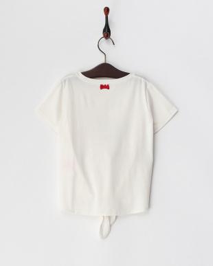 白  裾リボン 転写Tシャツ見る