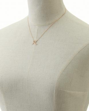 C  ピンクゴールド ダイヤモンド イニシャルネックレス見る