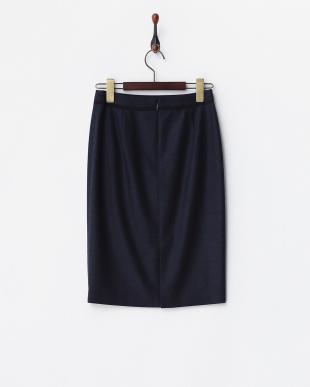 ネイビー ウール バイカラースカート見る