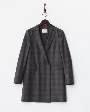 グレンチェック ウール コートジャケット見る