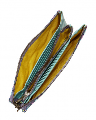 ブルー  豚革友禅染長財布見る