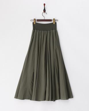 KHAKI  フリル付ロングスカート見る