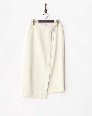 オフホワイト  サイドスウィングサッシュラップタイトスカート見る