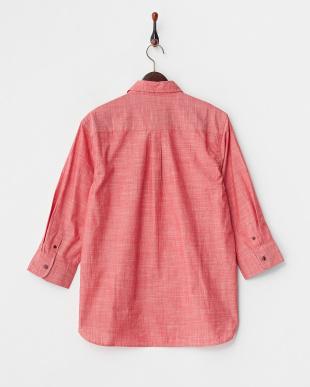 レッド  スラブ調コットン 7分袖ボタンダウンシャツ見る
