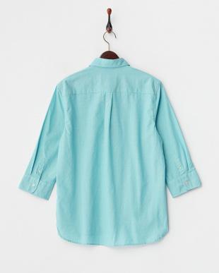 ブルー  スラブ調コットン 7分袖ボタンダウンシャツ見る