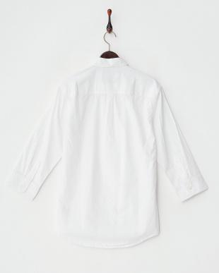 ホワイト  ボタンダウン7分袖シャツ見る