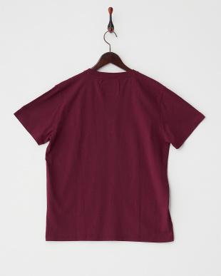 エンジ  クルーネック ポケットTシャツ見る