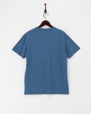 ブルーグレー  ロゴプリント半袖Tシャツ見る