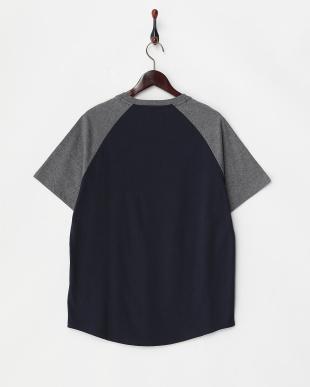 ネイビー×グレー  切り替えラグランスリーブTシャツ見る