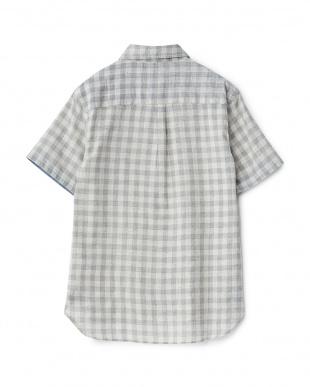 グレー  ネップ混チェック ボタンダウン半袖シャツ見る
