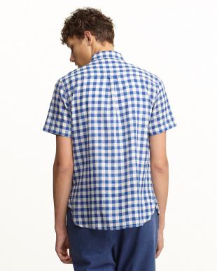 ブルー  ネップ混チェック ボタンダウン半袖シャツ見る