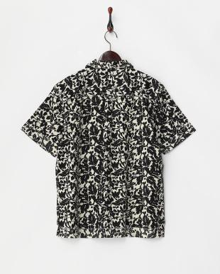 ブラック  プリントオープンカラーシャツ見る