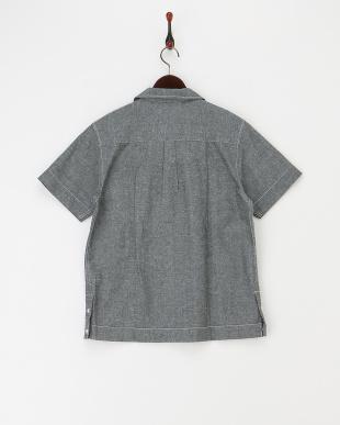ブラック   リネン混オープンカラーシャツ見る
