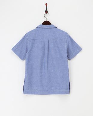 ブルー   リネン混オープンカラーシャツ見る