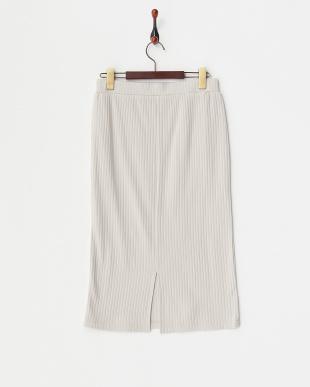 ライトグレー 綿/レーヨン リブスカート見る