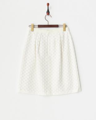 ホワイト  インポートカットジャガードスカート 見る