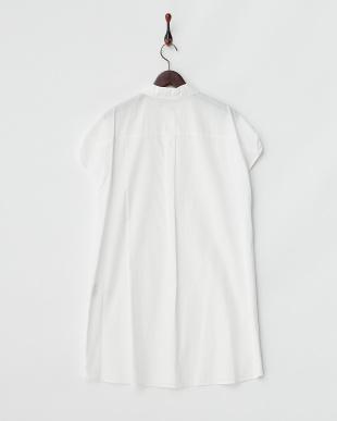 ホワイト 綿ブロードビッグシルエットシャツワンピース見る