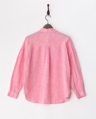 ピンク フランダースリネン 2WAYドロップショルダーシャツ見る