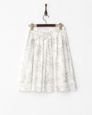 ホワイト ボタニカルプリントスカート見る