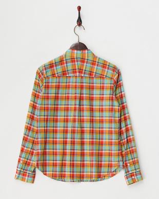 オレンジ コンパクトローンチェックシャツ見る