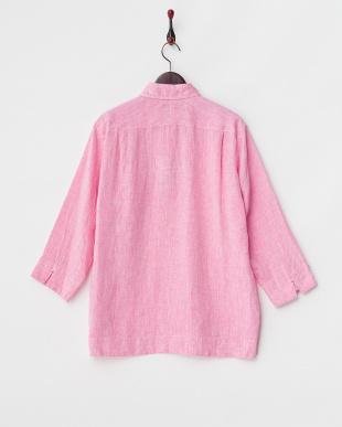 ピンク  リネンシャンブレープルオーバーシャツ見る